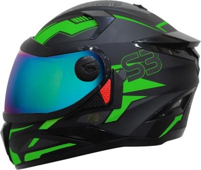 Steelbird SBH-17 Terminator Full Face Graphic Helmet in Matt Black Fluo Green Motorbike Helmet(Matt Black Fluo Green with Rainbow Visor)