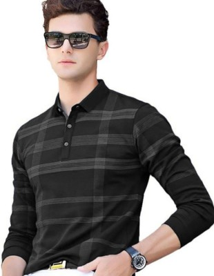 Try This Checkered Men Polo Neck Black T-Shirt