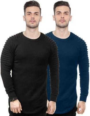 JUST DRESS BETTER Self Design Men Round Neck Black T-Shirt(Pack of 2)