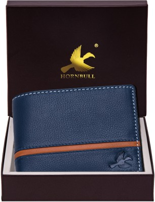 Hornbull Men Blue Genuine Leather Wallet(6 Card Slots)