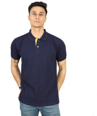 KINGS CHOICE Solid Men Polo Neck Dark Blue T-Shirt