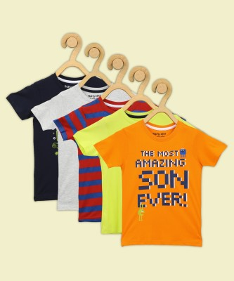 Miss & Chief Boys Striped, Printed, Solid Pure Cotton T Shirt  (Multicolor, Pack of 5)