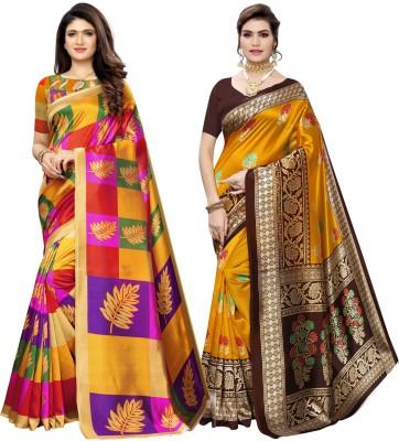 Saara Printed, Geometric Print, Floral Print Kanjivaram Poly Silk Saree(Pack of 2, Brown, Yellow)