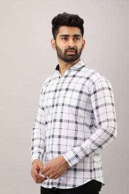 Surhi Men Checkered Casual White Shirt