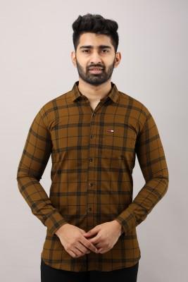 Surhi Men Checkered Casual Brown Shirt