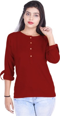 KURTI WORLD Casual Roll-up Sleeve Solid Women Maroon Top