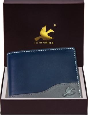 Hornbull Men Casual Blue Genuine Leather Wallet(7 Card Slots)