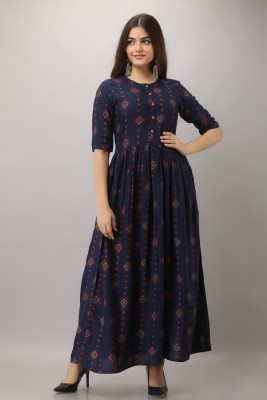 GULMOHAR JAIPUR Women Printed Flared Kurta(Dark Blue)