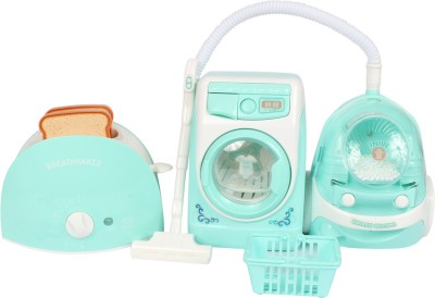 Planet of Toys Dream Kitchen Set includes Vacuum Cleaner, Washing Machine, Bread-maker with Light and Sound For Kids