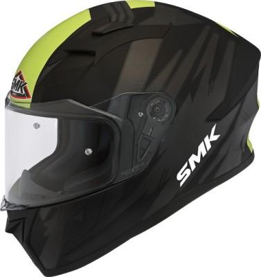 SMK Full Face Helmet Stellar Trek Matt Black Yellow Motorbike Helmet(Black, Yellow)