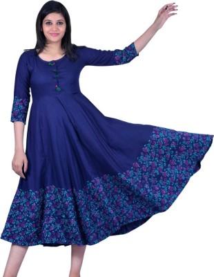 VELLE Women Solid Anarkali Kurta(Blue)