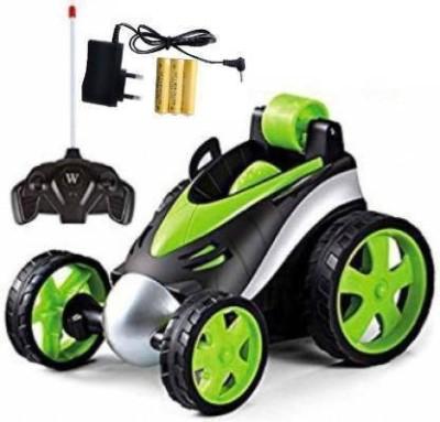 Kiyara Collection Remote Control Stunt Car Vehicle 360°Rotating Rolling Radio Control Electric Racing Car(Green)