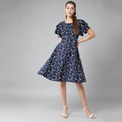 VSkin Women Fit and Flare Blue Dress