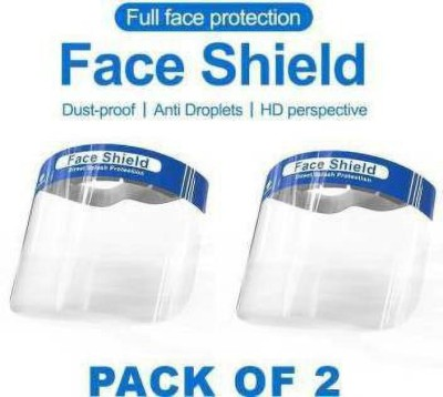 SG SENTOSA GEIGY Face Shield Fluid Resistant Clear Full Face Masks Protective Anti-Splash Facial Cover with Elastic Band and Soft Sponge (Pack of 2 Safety Visor) FACE SHEILD Fluid Resistant Clear Full Face Masks Protective Anti-Splash Facial Cover with Elastic Band and Soft Sponge (Pack of 2) Face s
