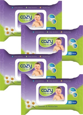 Cozy BABY WET WIPES 80'S SHEETS  4 PACKS  320 Wipes Cozy Baby Wipes