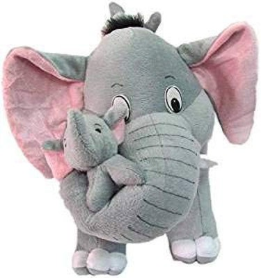 NKL Grey Mother Elephant with Two Baby Stuffed Soft Plush Toy  40 CM    40 cm Grey NKL Soft Toys
