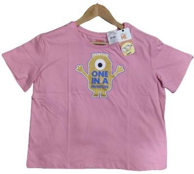 Baby Bird Casual Half Sleeve Graphic Print Women Pink Top