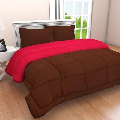 Utkarsh Guru Kripa Checkered Double Comforter(Cotton, Brown & Pink)
