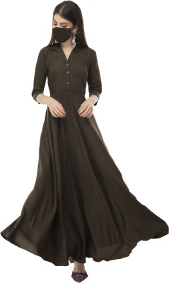 Rudraaksha Women Maxi Brown Dress