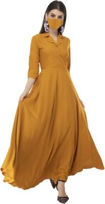 Rudraaksha Women Maxi Yellow Dress