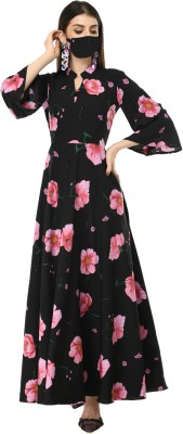 Rudraaksha Women Fit and Flare Black Dress