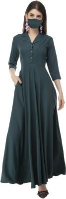 Rudraaksha Women Maxi Dark Green Dress