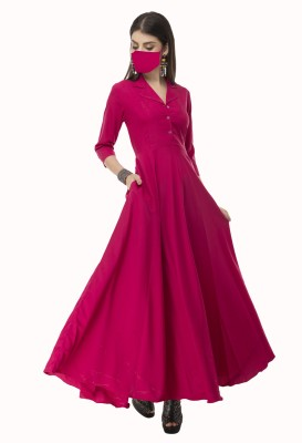 Rudraaksha Women Maxi Pink Dress