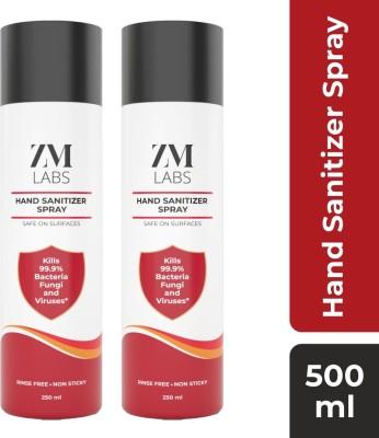 ZM Labs 70% Alcohol Regular Spray Hand Sanitizer Bottle(2 x 250 ml)