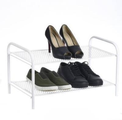 Flipkart Perfect homes Studio Premium Collapsible, Foldable Metal 2 Tier Shoe Rack (White) Metal Shoe Rack(White, 2 Shelves)
