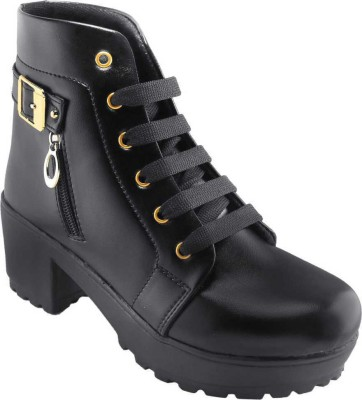 SHOESTHAN Perfect Stylish Girls High Ankle Boots For Women(Black)