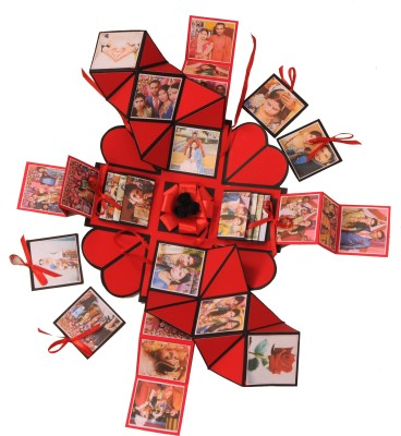 CRAFTED WITH BEAUTY AND ARTS Explosion box for Valentine's day ,Anniversary Or Birthday, gift box for any occasion ( A Special Person) Greeting Card(BLACK & RED, Pack of 1)