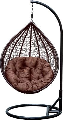 Swingzy Hanging Egg-shaped Swing Chair Iron Swing(Brown)