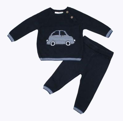 WILDLINGGS Boys & Girls Casual Sweater Pyjama(Dark Blue)