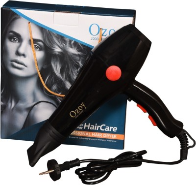 Ozoy Professional Salon Style Hair Dryer for Men and Women 2 Speed 3 Heat Settings Cool Button with AC Motor, Concentrator Nozzle and Removable Filter - 2000 W Hair Dryer (2000 W, Black)