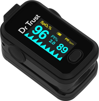 Dr. Trust (USA) Signature Series FingerTip with AUDIO VISUAL ALARM water resistant ( Midnight Black) Pulse Oximeter(Black)