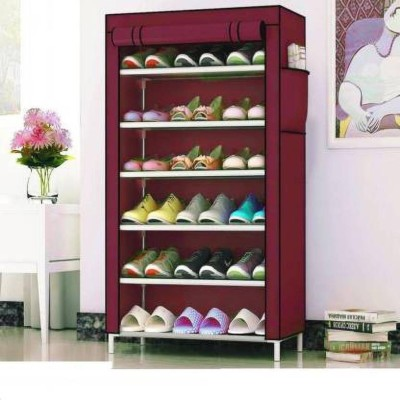 Coroid 1-Door 4-Shelf Fabric Metal Collapsible Shoe Stand Metal, Plastic Collapsible Shoe Stand(Maroon, 6 Shelves)