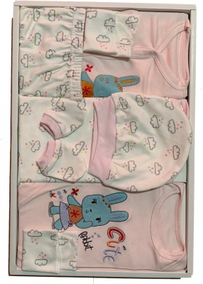 Atrips New Born Baby Gift Set Combo Pink/white 100% Organic cotton Size (0-3) months(Set of 1)