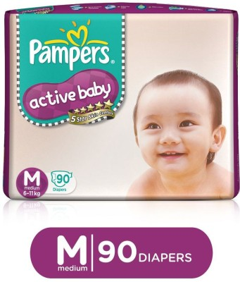 Pampers Active Baby Diapers Taped Medium Size 90 Pieces Pampers Baby Diapers
