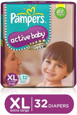 Pampers Active Baby Taped Diapers 5 Star Skin Protection   XL