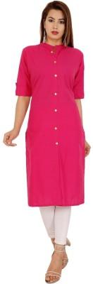 Rimeline Women Solid Straight Kurta(Pink)