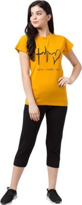 Funday Fashion Women Printed Yellow, Black Top & Capri Set