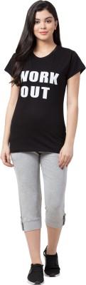 Funday Fashion Women Printed Black, Grey Top & Capri Set