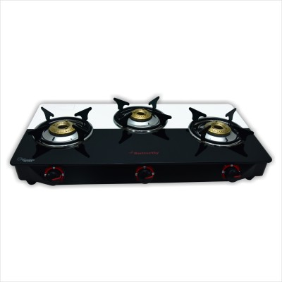 Butterfly Rapid Plus Glass Manual Gas Stove(3 Burners)