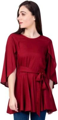 Nandani Fashion Casual Butterfly Sleeve Solid Women Maroon Top