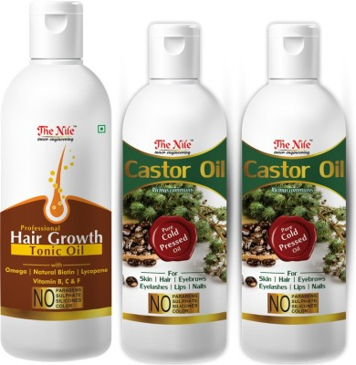 The Nile 100% Pure Castor Hair Oil, Cold Pressed, To Support Hair Growth 100 ML + 100% Pure Castor Hair Oil, Cold Pressed, To Support Hair Growth 100 ML + 100 % Pure and Natural Hair Growth Tonic For Hair Regrowth, Anti Hair Fall 200 ML Hair Oil(400 ml)