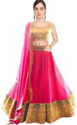 HKBDFAB Embroidered Semi Stitched Lehenga Choli(Red, Gold, Pink)