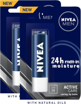 NIVEA MEN Active Care SPF15 Lip Balm Crme(Pack of: 2, 9.6 g)