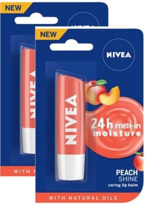 NIVEA Peach Fruity Shine Lip Balm Peach(Pack of: 2, 9.6 g)