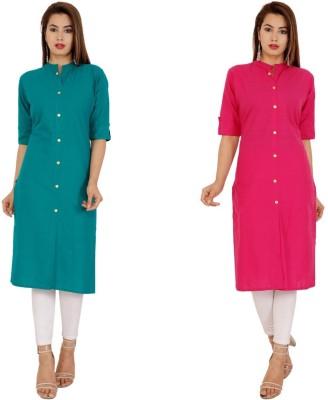 Rimeline Women Solid Frontslit Kurta(Green, Pink)