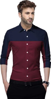 Tripr Men Color Block Casual Dark Blue, Maroon Shirt